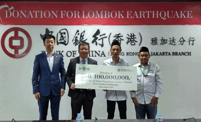 Bank China bantu korban gempa Lombok